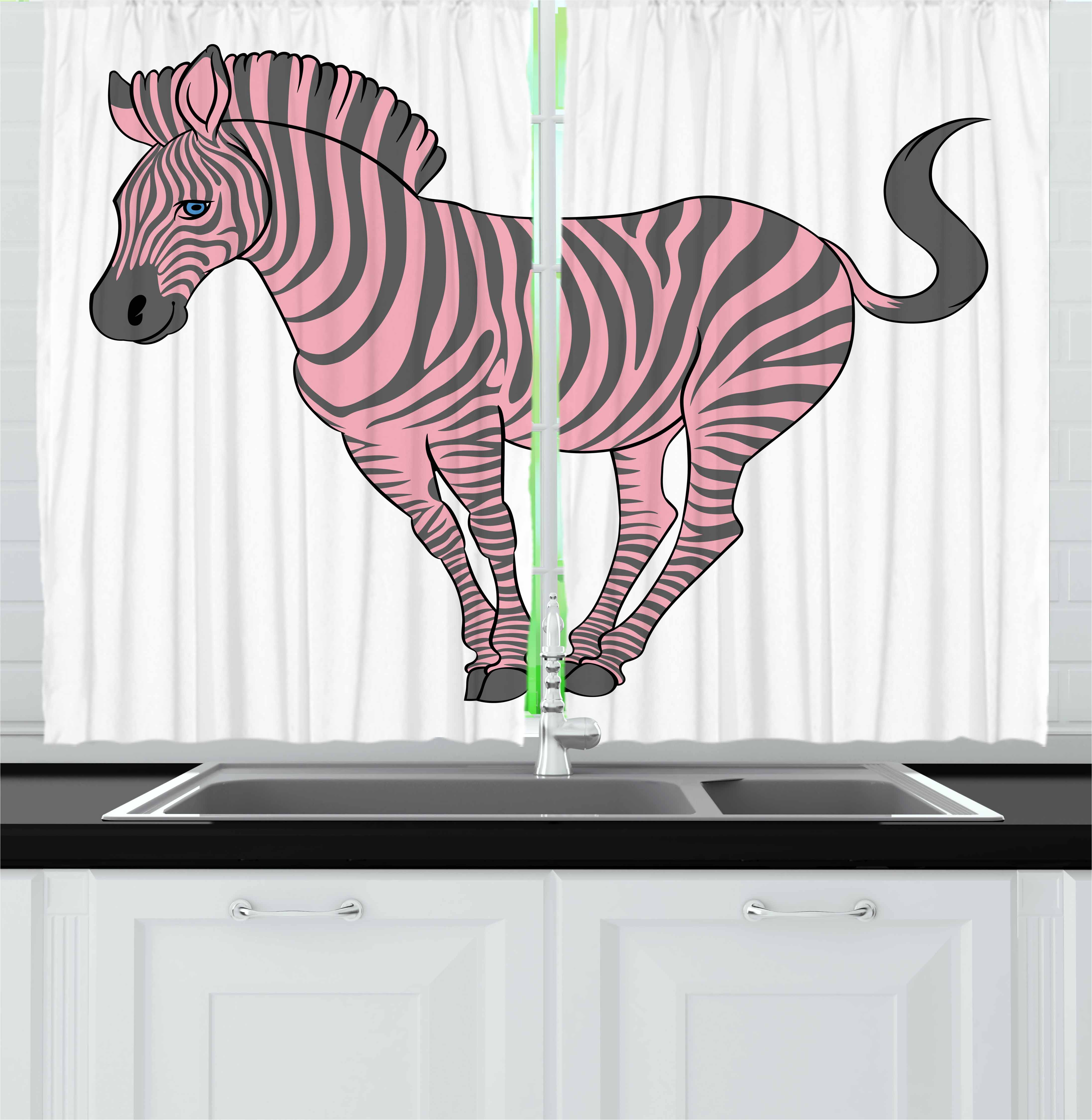 Pink Zebra Curtains 2 Panels Set, Naturalistic Baby Zebra in Funny Pose Zoo Wild Horse Kids Childish Theme, Window Drapes for Living Room Bedroom, 55W X 39L Inches, Pale Pink Dimgrey, by Ambesonne
