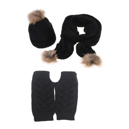Fleece Plush Fur Trim  Hat Scarf & Glove 3pcs