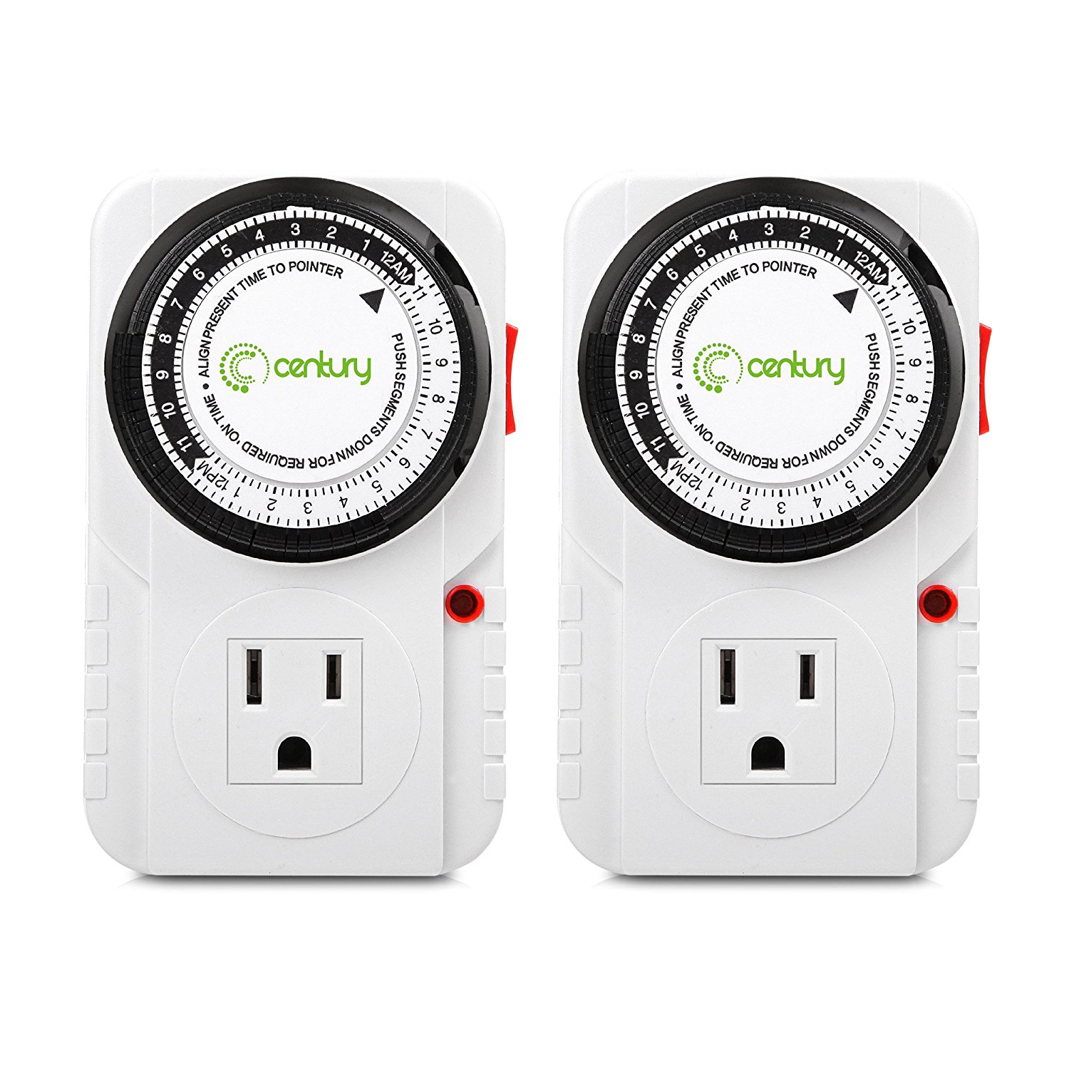 Century 24 Hour Plug-in Mechanical Timer Grounded Outlet 2 Pack by Century Products