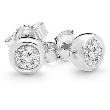 Bezel Set Solitaire Round Cut Diamond Stud Earrings in 14K White Gold, 0.4 Carat