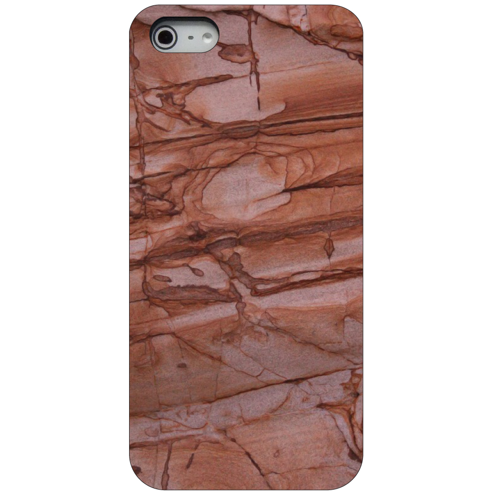 CUSTOM Black Hard Plastic Snap-On Case for Apple iPhone 5 / 5S / SE - Red Sand Stone