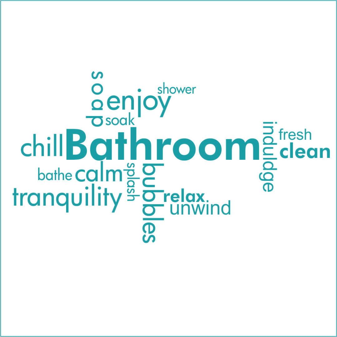 Bathroom Word Jumble Vinyl Decal - Large