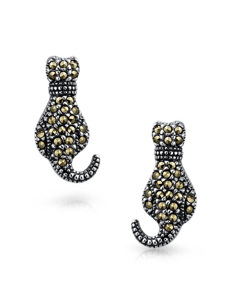 925 Sterling Silver Rhinestone Dog Stud Earrings For Women