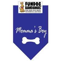 Fun Dog Bandana - Momma's Boy - One Size Fits Most for Med to Lg Dogs, royal blue pet scarf