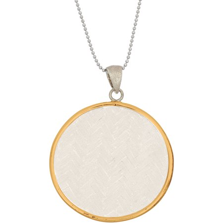 5th & Main Sterling Silver and 14kt Gold-Plated Round Woven Basket Weave Pendant with Necklace