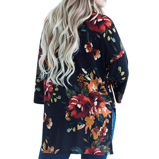57ed426c36 Himone - Women s Vintage Floral Loose Blouse Boho Plus Size Coat Shawl  Kimono Beach Cardigan Tops - Walmart.com