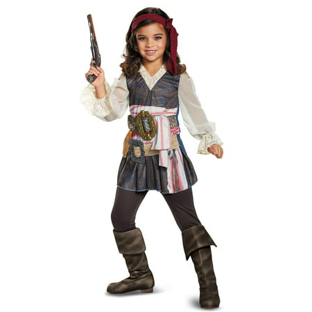 Pirates of the Caribbean Captain Jack Classic Girls Costume - Easy Pirate Costume Female