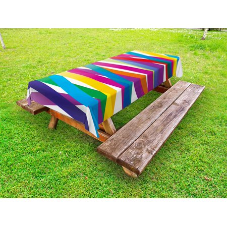Colorful Outdoor Tablecloth, Multicolor Ribbon Style Abstract Design Vivid Rainbow Pattern Artistic Expression, Decorative Washable Fabric Picnic Tablecloth, 58 X 120 Inches, Multicolor, by Ambesonne](Colorful Tablecloths)