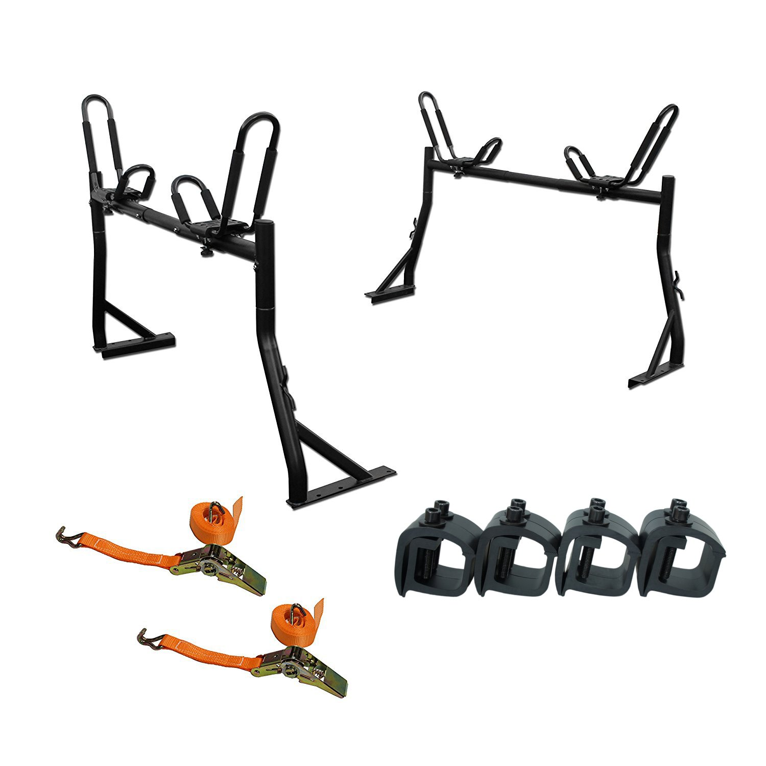 X35 Truck Rack with (4) Non-Drilling C-Clamps + (2sets) Kayak J-Racks + (2) Heavy Duty 1 Ton Ratcheting Strap by AA Products Inc.