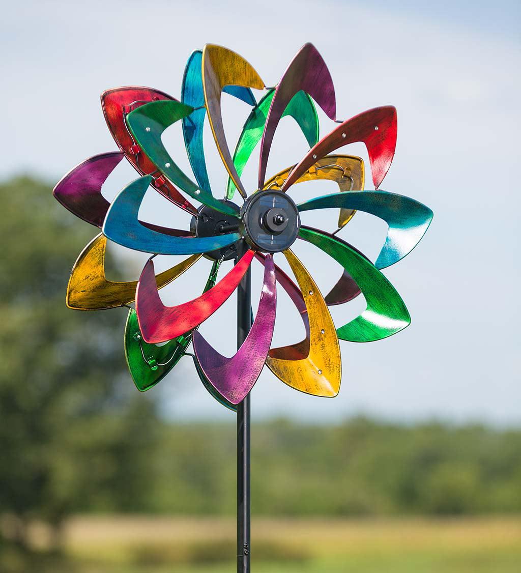 "Outdoor Solar LED Flower Garden Wind Spinner, 10""L x 24""W x 75""H, in... by Plow & Hearth"