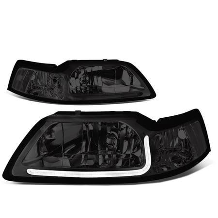 - For 99-04 Ford Mustang LED Daytime Running Light Bar Headlight Smoked Housing Clear Corner Headlamp 00 01 02 03 Left+Right