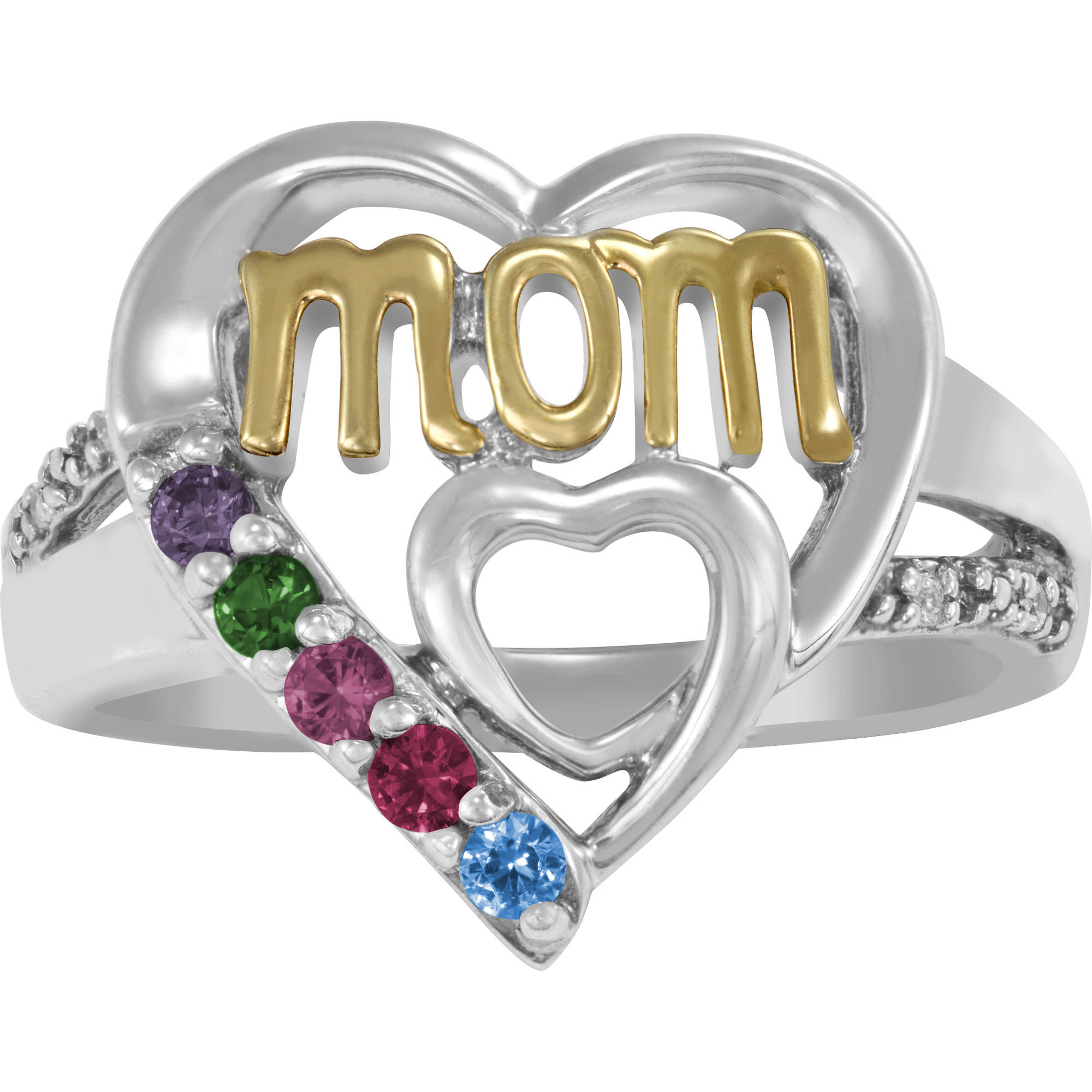 Keepsake Personalized Mom's Heart Birthstone Ring
