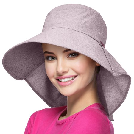 Womens Wide Brim Sun Protection Hat w/ Flap Neck Cover for Outing,Hiking, Boating](Sailor Hat For Sale)