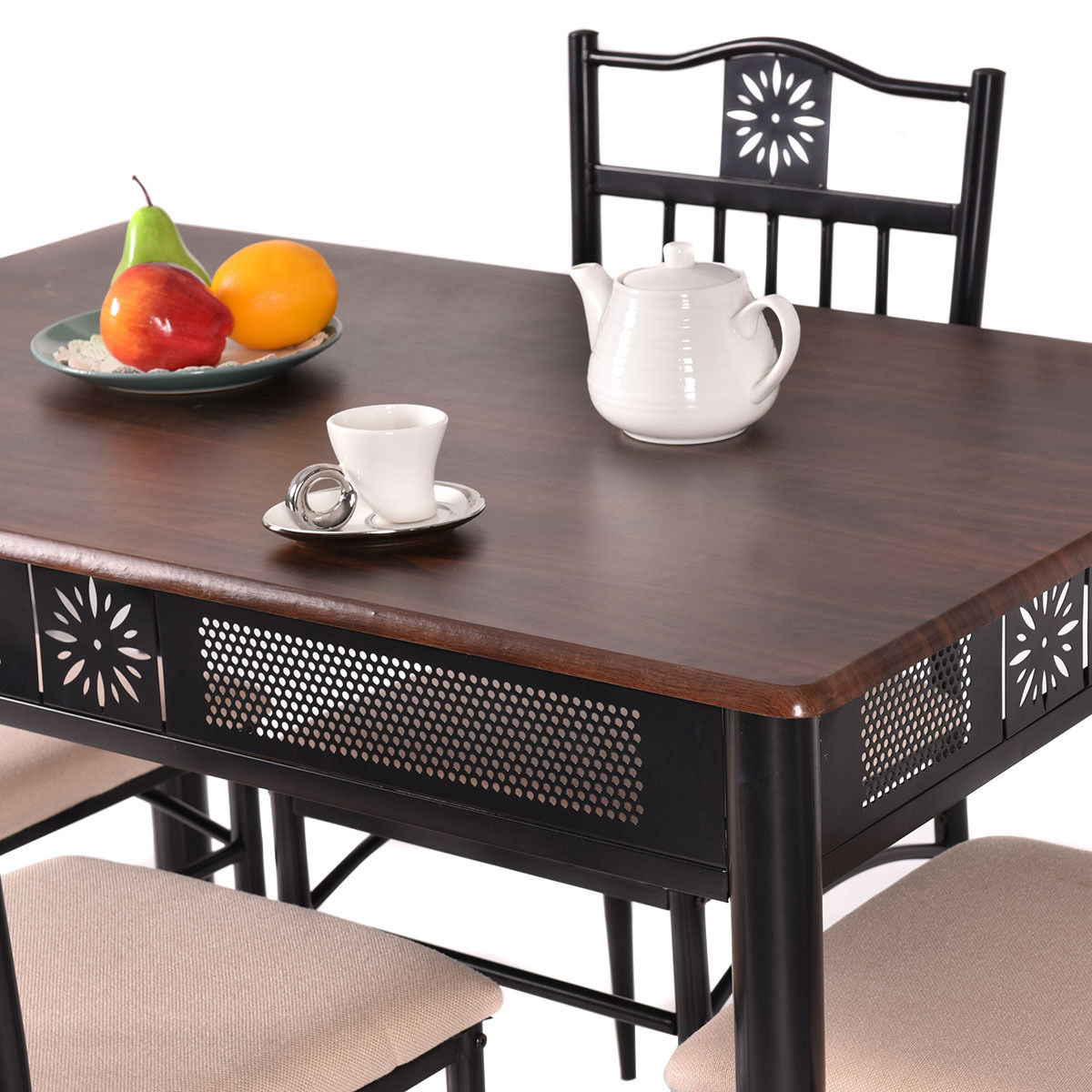 Costway 5 Piece Dining Set Wood Metal Table And 4 Chairs Kitchen Breakfast  Furniture   Walmart.com