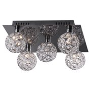 """Bazz Lighting C15569 Glam 5-Light 13-1/4"""" Wide Flush Mount Ceiling Fixture with Clear Glass Shade"""