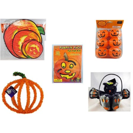 Halloween Fun Gift Bundle [5 Piece] - Classic Pumpkin Cutouts Set of 9 - Party Favors Pumpkin Candy Containers 6 Count - Darice Pumpkin Face Fun Felt Kit - Stitches -  Pumpkin Plastic on Wire Decora