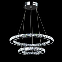 Chandeliers Neutral Light Crystal Chandelier Led Ceiling Light with 2 Oval Rings(40+60cm) for Dining Room, Living Room, Bedroom Study Room (Non Dimmable)
