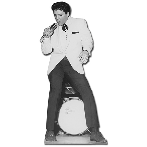 SC239 Elvis White Jacket w Drums Cardboard Cutout Standup