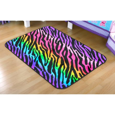 Your Zone Rainbow Zebra Faux Mink Rectangular Rug Multi