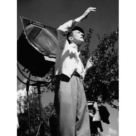 Jean Cocteau on the set of 'La Belle et La Bete', 1946 (b/w photo) Print Wall Art By French