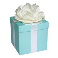 Large Centerpiece Favor Box with Lid & Self Adhesive Satin Ribbons & Ivory Tissue Paper Flower Bow - Robin Egg Aqua Blue
