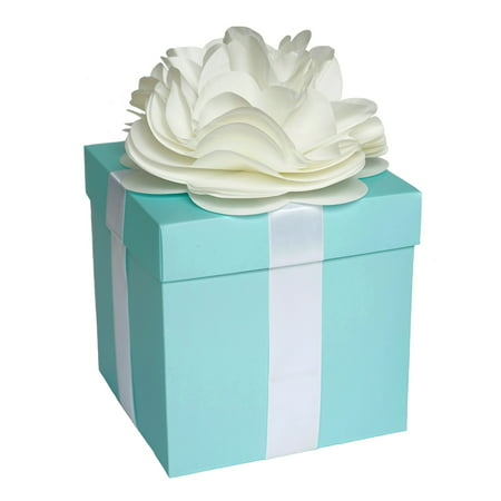 Large Centerpiece Favor Box with Lid & Self Adhesive Satin Ribbons & Ivory Tissue Paper Flower Bow - Robin Egg Aqua Blue ()