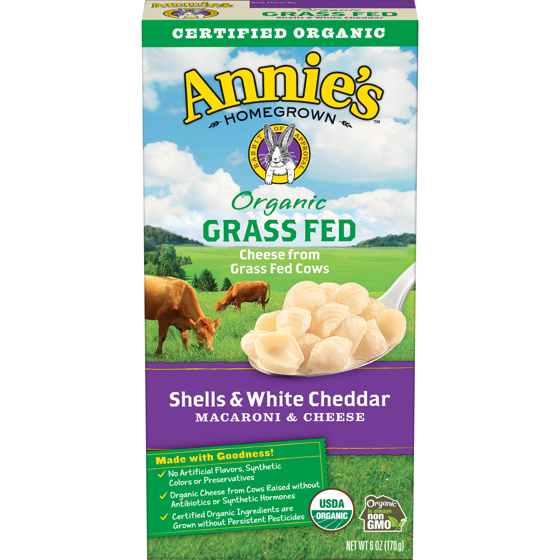 Annie's Organic Grass Fed Shells & White Cheddar Mac & Cheese 6 oz