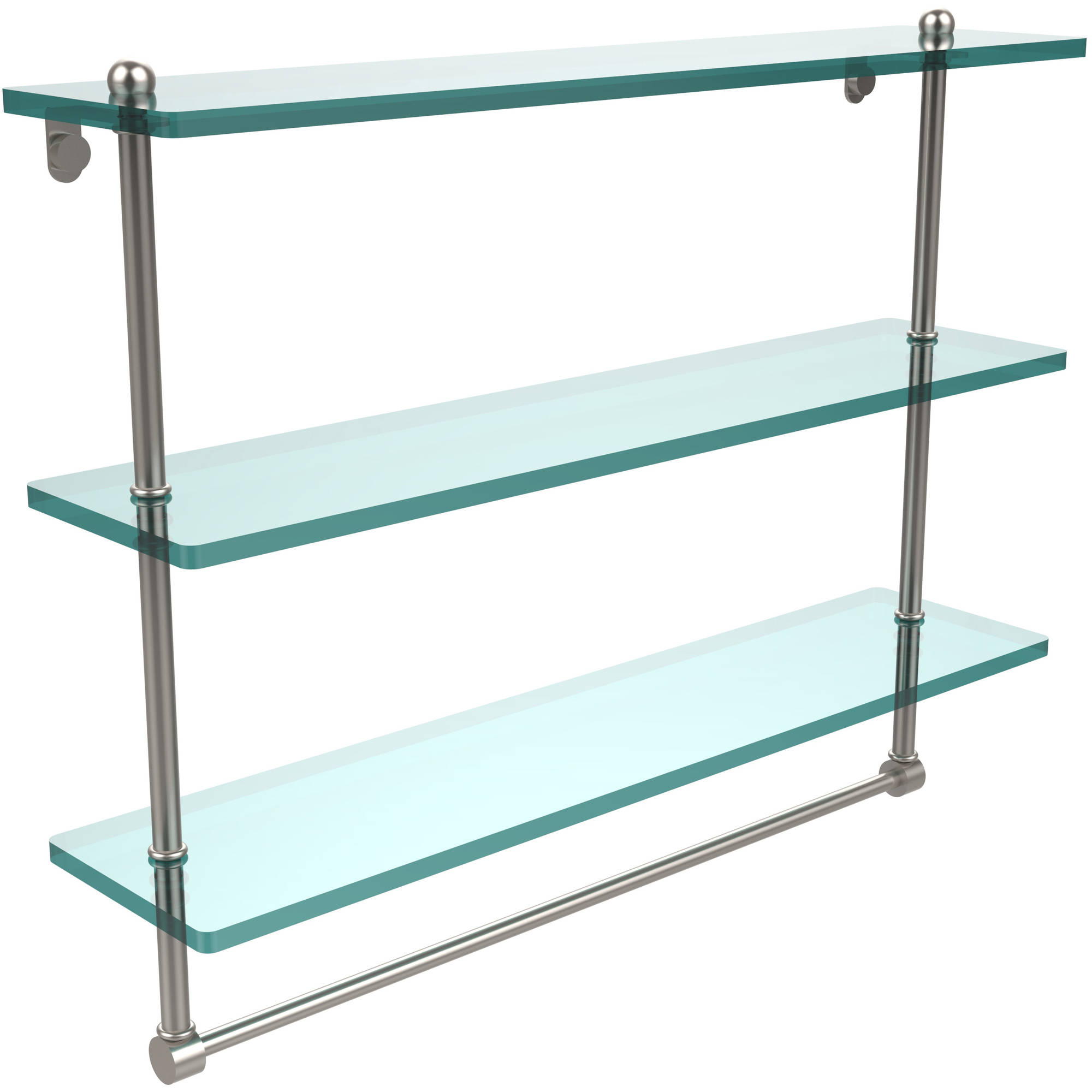 "22"" Triple Tiered Glass Shelf with Integrated Towel Bar (Build to Order)"