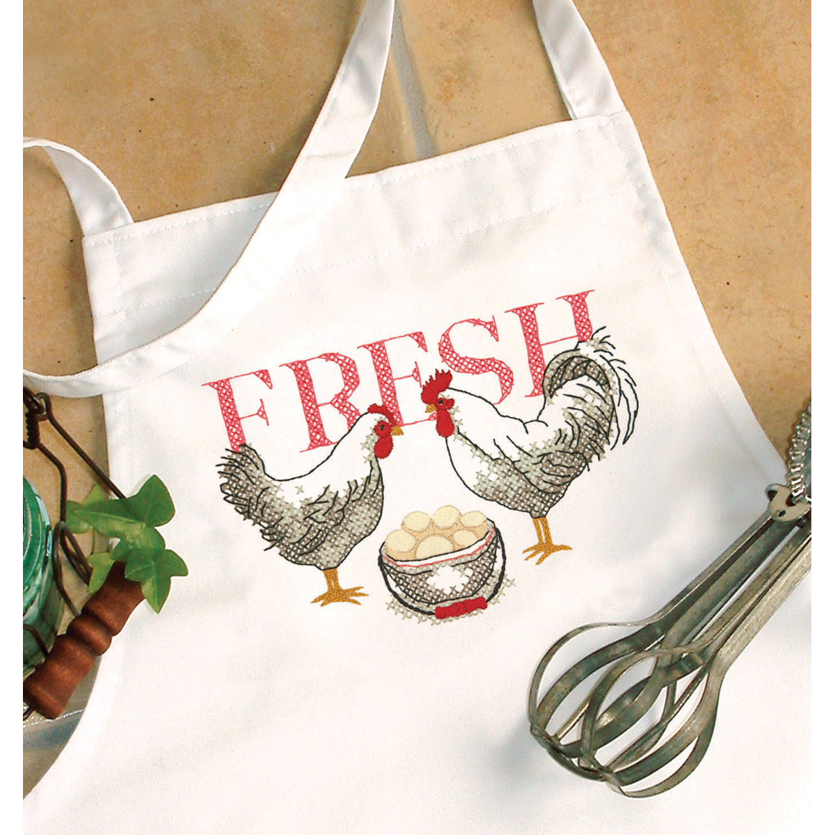 Dimensions Rooster Apron Stamped Cross Stitch