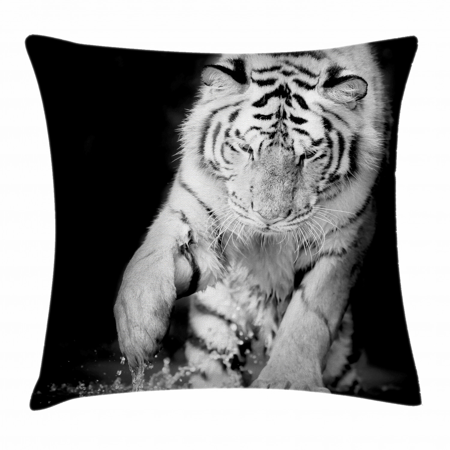 Tiger Throw Pillow Cushion Cover Black And White Image Of Large Cat Playing With Water Cool Animals Fun Hunter Decorative Square Accent Pillow Case 24 X 24 Inches Black Pale Grey By