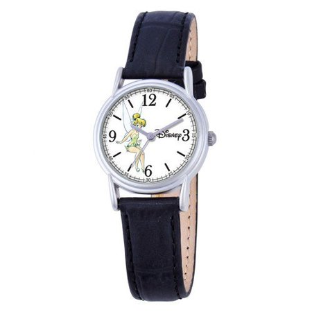 Disney Tinker Bell Women's Cardiff Silver Alloy Watch, Black Leather Strap