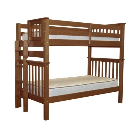 Bedz King Tall Bunk Beds Twin over Twin Mission Style with End Ladder - White Mission Mount