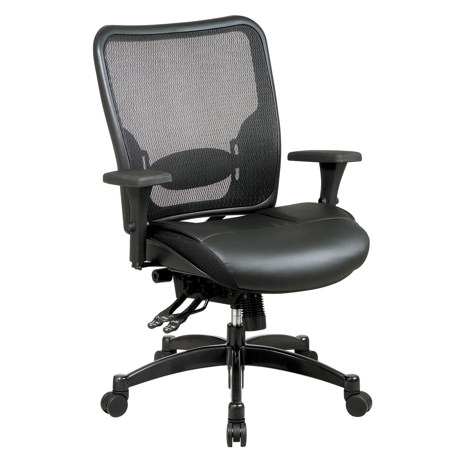Space Seating Professional Breathable Mesh Black Back and Layered Leather Seat Ergonomic Chair with Adjustable Lumbar... by Office Star Products