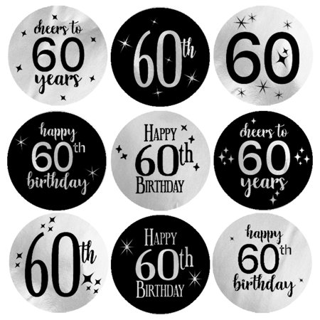 Silver Foil 60th Birthday Stickers, 216ct - Black and Silver Birthday Party Supplies - 198 Count (Black Silver Foil)