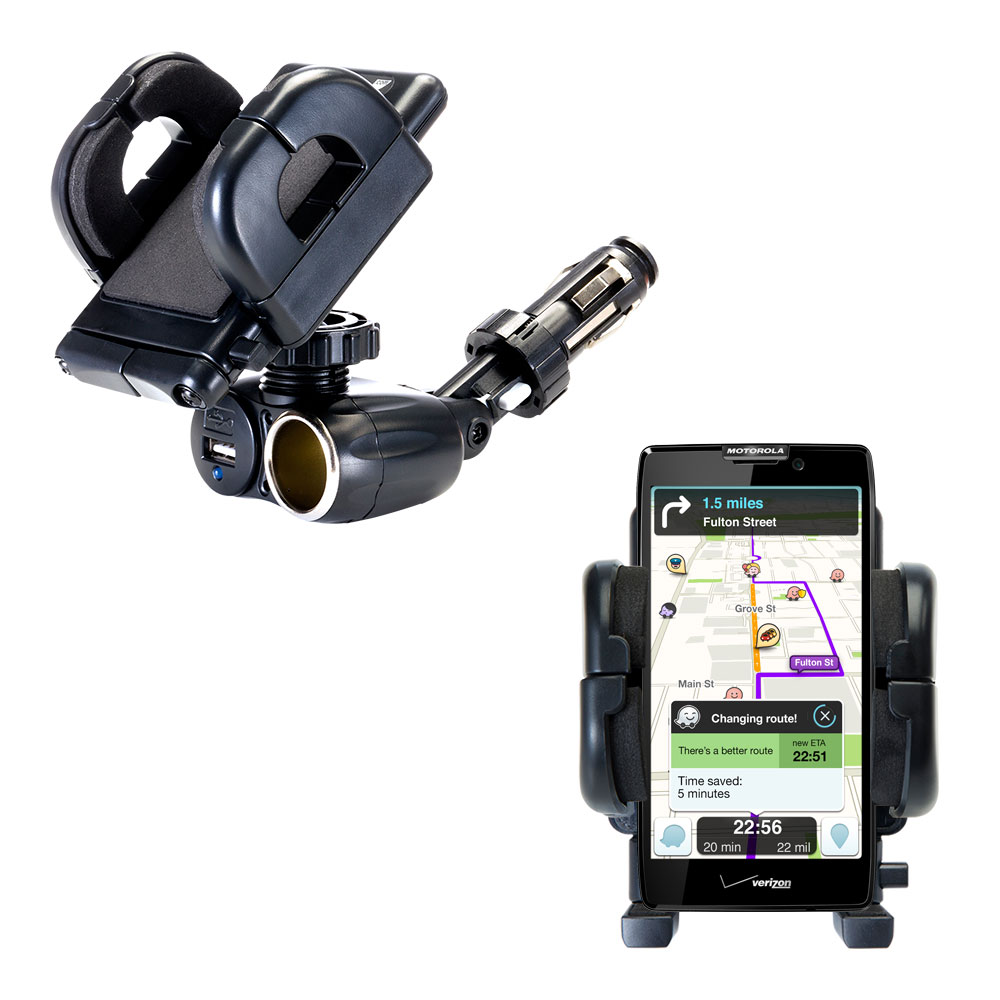 Dual USB / 12V Charger Car Cigarette Lighter Mount and Holder for the Motorola DROID RAZR