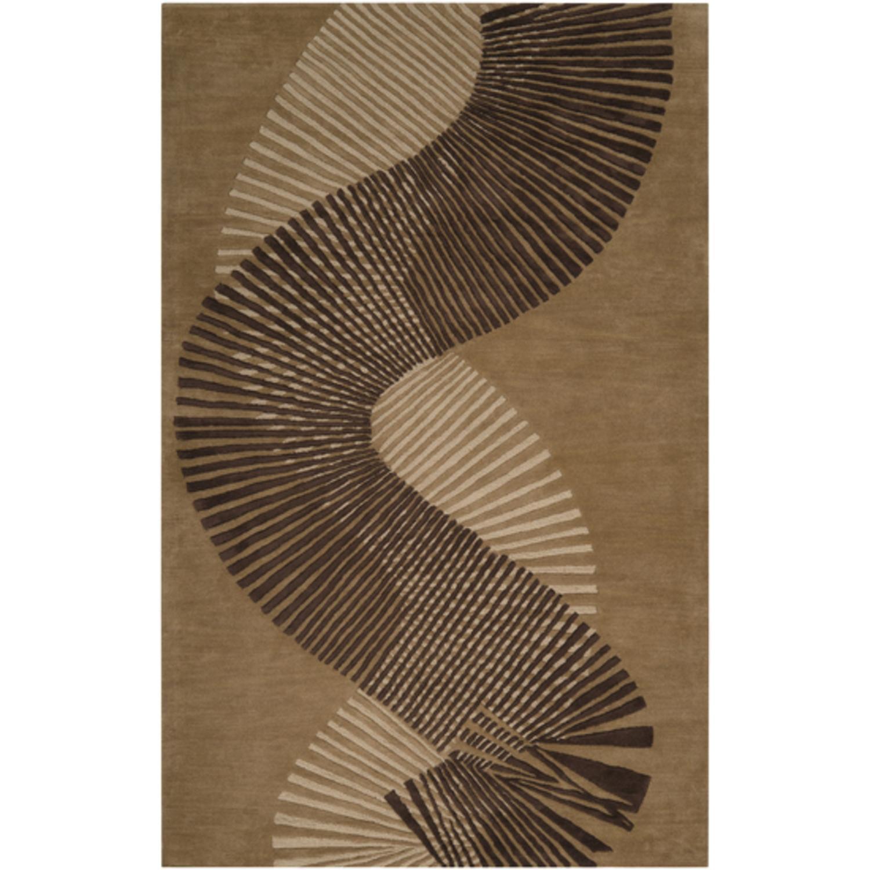 3.25' x 5.25' Taricha Beige, Coffee Bean Brown & Tawny Brown Wool Area Throw Rug