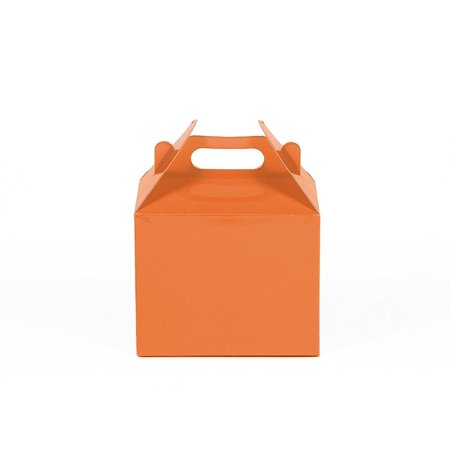 12CT (1 Dozen) Small Biodegradable Kraft / Craft Favor Treat Gable Boxes, Gift Expressions (Small, Orange - Pink Gable Boxes