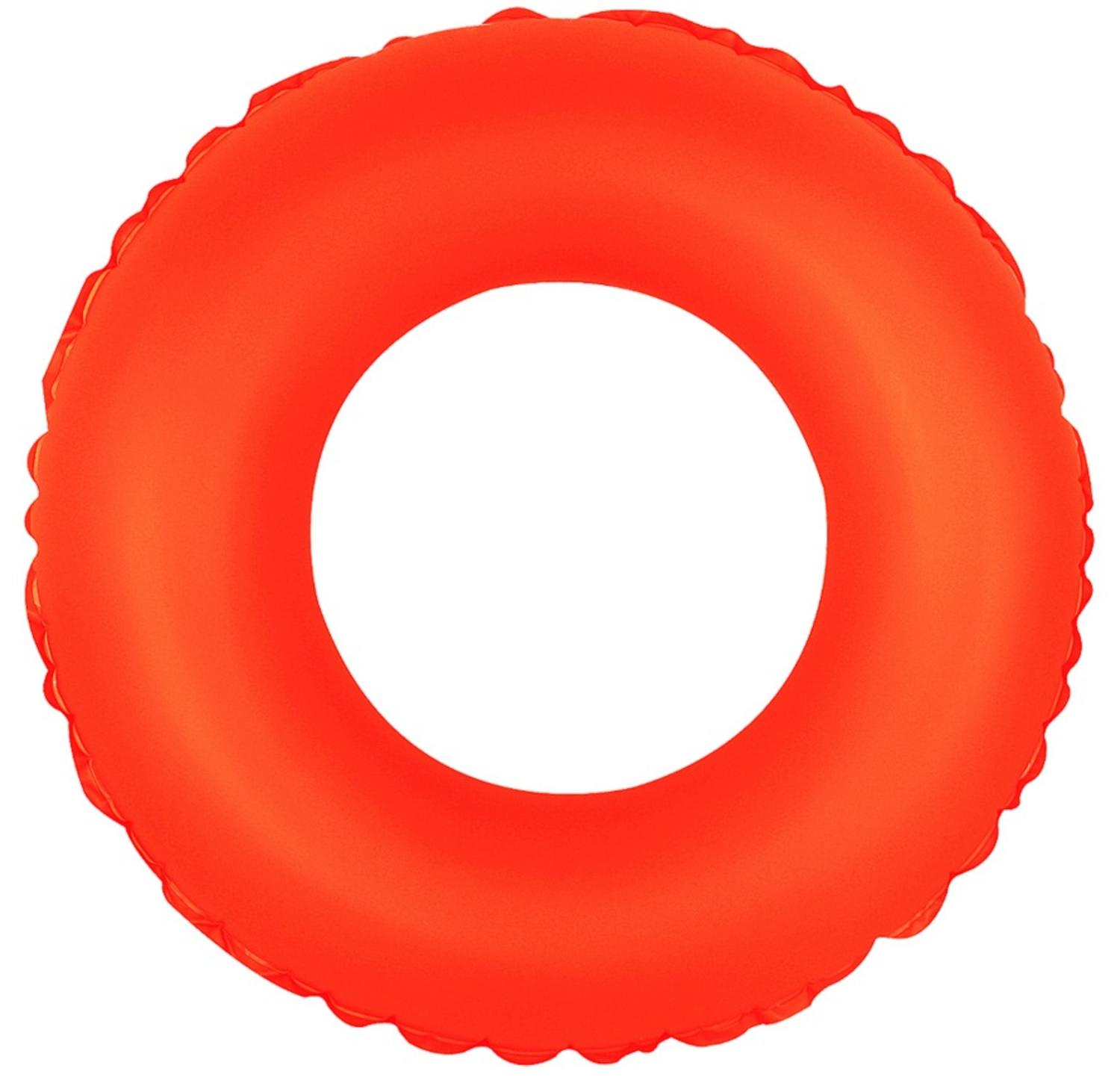"30"" Classic Round Neon Orange Inflatable Swimming Pool Inner Tube Ring Float"