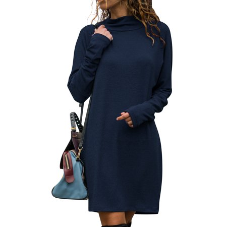 LEFASHION Women Long Sleeve Cowl Neck Solid Color Slim Casual Dress - Belle Dress For Women