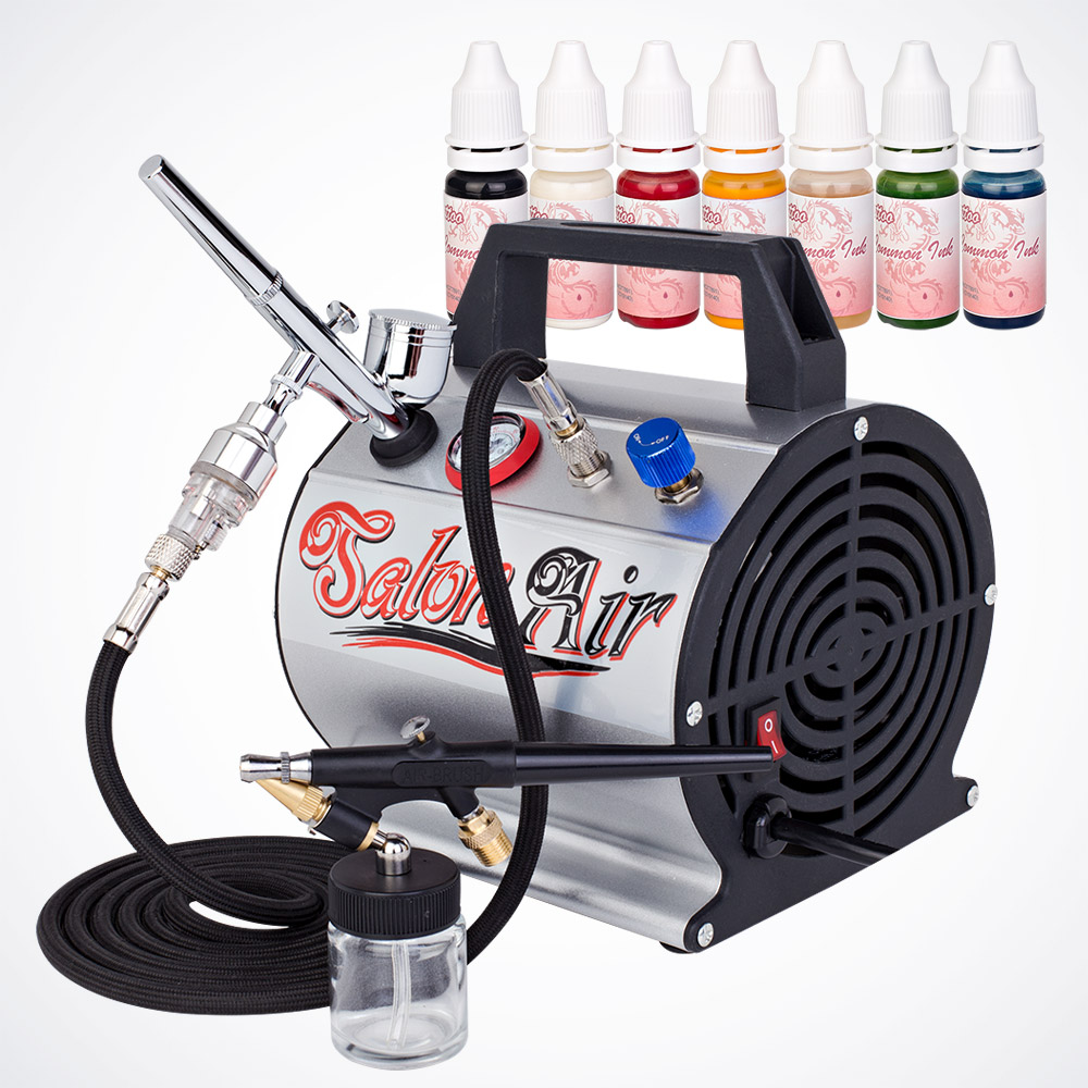 All-in-One Tattoo Airbrush Kit Single & Dual-Action Spray 7 Temporary Color Inks