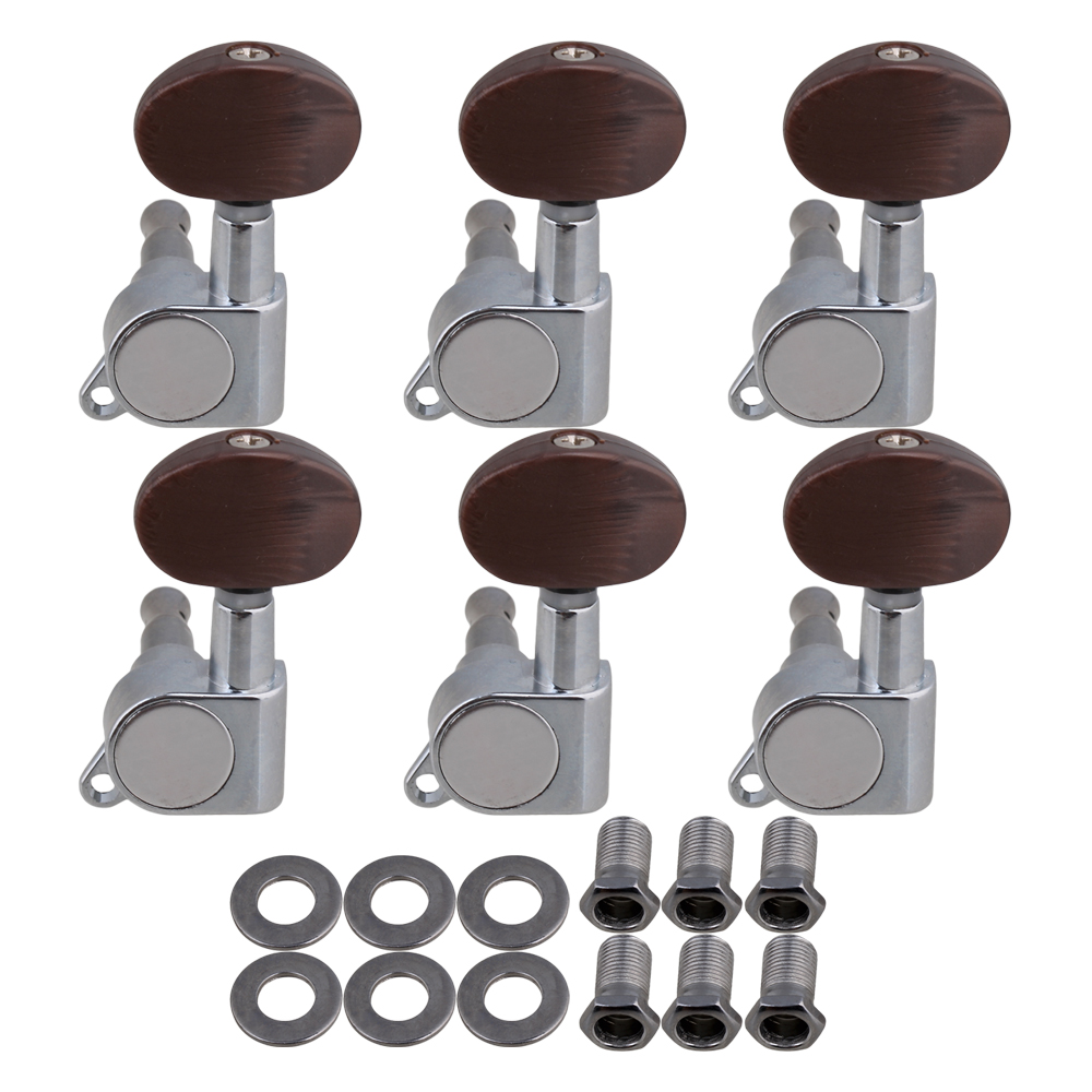 BQLZR Rose Red Head Zinc Alloy 6L Guitar Tuning Pegs Keys Machine Head Guitar Tuners Pack of 6