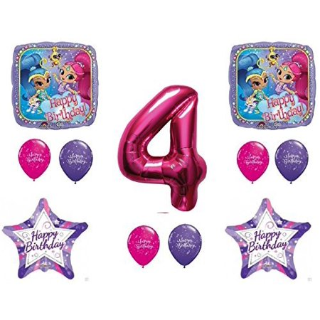 SHIMMER AND SHINE 4th Fourth HAPPY Birthday Party Balloons Decoration Supplies Genie Nick