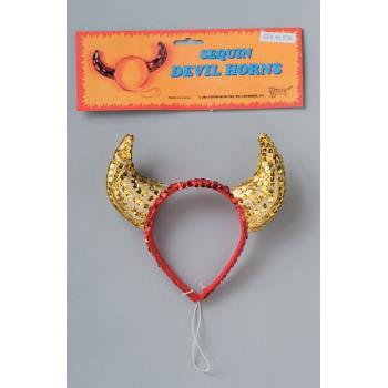 DEVIL HORNS-RED/GOLD SEQUIN (Gold Devil Horns)