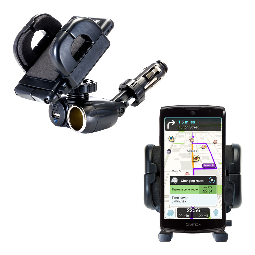 Dual USB / 12V Charger Car Cigarette Lighter Mount and Holder for the Pantech Discover