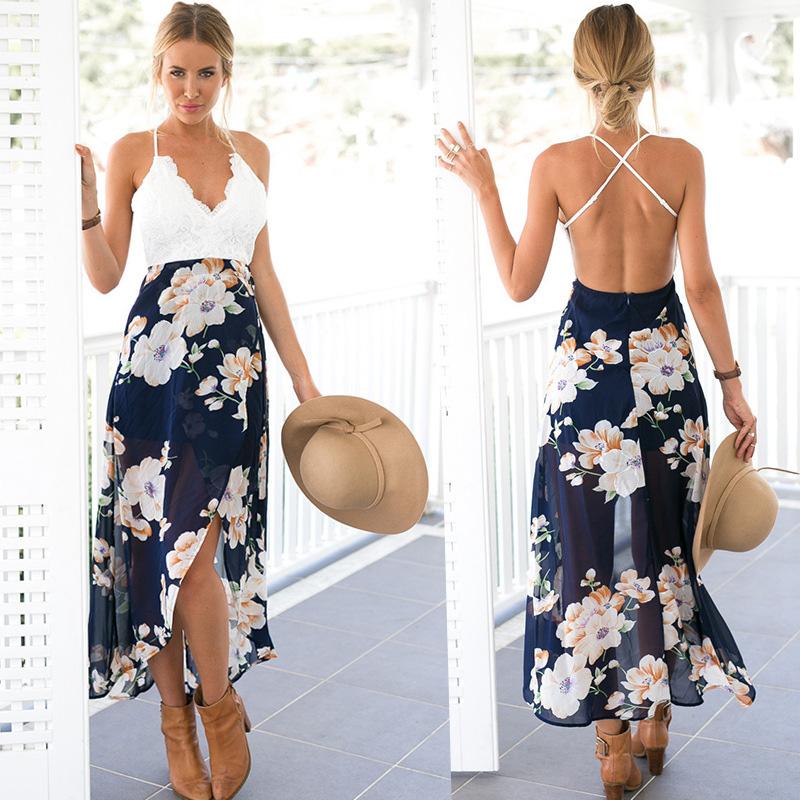 Lace Dress, Coxeer Backless Lace Dress Sexy Spaghetti Strap Split Party Dress for Women Girls