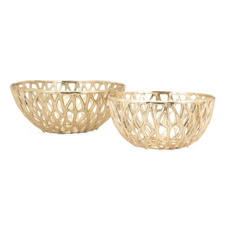 Set of 2 Gold Colored Interconnected Branch Design Bowls 16.75