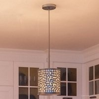 """Urban Ambiance Luxury Cosmopolitan Hanging Pendant, Small Size: 9""""H x 8""""W, with Shabby Chic Style Elements, Drum Design, Olde Silver Finish and Cream Linen Inner Shade, Metal Chip Outer Shade, UQL2243"""