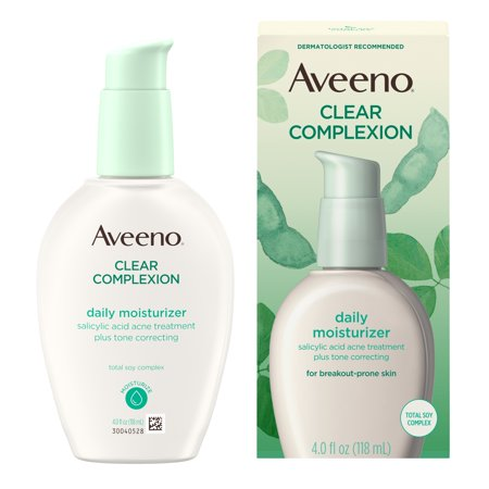 Aveeno Clear Complexion Acne-Fighting Face Moisturizer with Soy, 4 (Best Face Oil For Combination Skin)