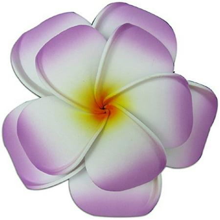 (Plumeria Foam Double Flower Large Hair Clip Lilac & White)