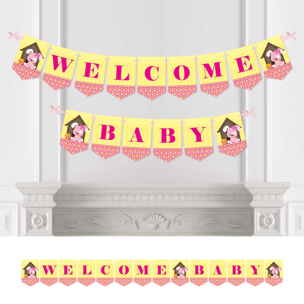 Girl Puppy Dog - Baby Shower Bunting Banner - Welcome Baby